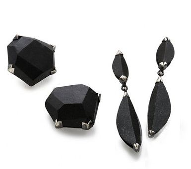 Terri Logan black stone earrings and ring